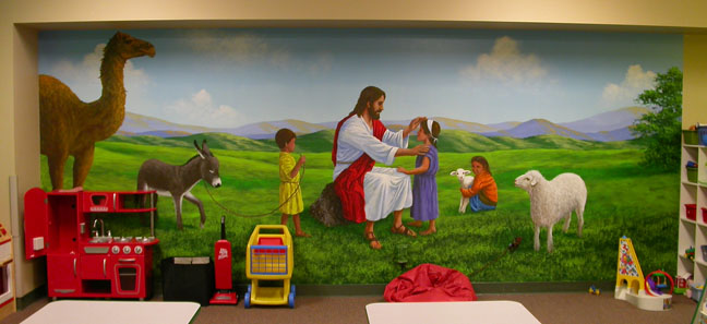 Church murals jesus with children jesus the shepherd for Church mural ideas